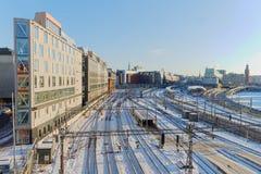 Mening van het sneeuwrangeerstation in Stockholma een mooie dag Royalty-vrije Stock Afbeelding