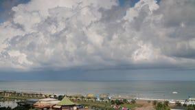 Mening van het strand door overzees, met koffiepalmen, dreigende wolken over de horizonlijn stock footage