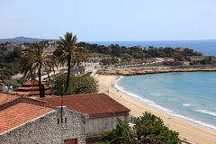 Mening van het strand in Tarragona Stock Foto