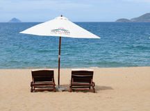 Mening van het strand van Nha Trang in Vietnam Royalty-vrije Stock Afbeelding