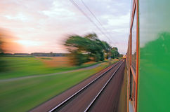 Mening van het venster van verzendende trein royalty-vrije stock afbeelding