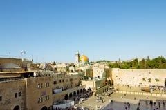 Mening van het vierkant voor de Westelijke Muur in Jeruzalem Royalty-vrije Stock Foto