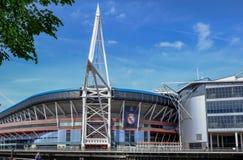 Mening van het voetbalstadion in Cardiff royalty-vrije stock afbeeldingen