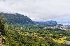 Mening van het vooruitzicht van Nuuanu Pali Royalty-vrije Stock Fotografie
