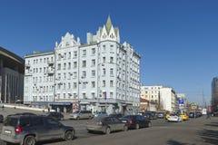 Mening van het vroegere flatgebouw A D Chernyatina Royalty-vrije Stock Foto's
