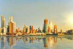 Mening van het water, van Hudson-baai aan Lower Manhattan Nieuwe Yor royalty-vrije stock foto's