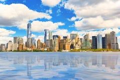 Mening van het water, van Hudson-baai aan Lower Manhattan Nieuwe Yor stock fotografie
