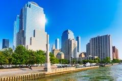 Mening van het water, van Hudson-baai aan Lower Manhattan Nieuwe Yor royalty-vrije stock afbeeldingen