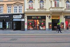 Mening van het winkelen straat in stadscentrum van Zagreb Stock Foto's