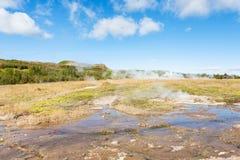 mening van hete de lentevallei van Haukadalur in de herfst Stock Afbeelding