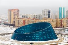 Mening van hierboven aan het Paleis van Creativiteit Shabyt op Onafhankelijkheidsvierkant in Astana, Kazachstan Royalty-vrije Stock Afbeelding