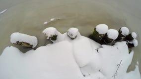 Mening van hierboven over een snow-covered kust van de rivier stock video
