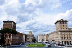 Mening van hierboven van Piazza Venezia in Rome Stock Foto's