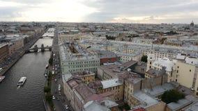 Mening van historisch centrum van St. Petersburg, Rusland stock footage