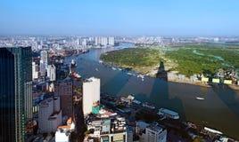 Mening van Ho Chi Minh City van de financiële toren van Bitexco. Stock Fotografie
