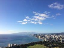 Mening van Honolulu en Vreedzame Oceaan van Diamond Head Crater op het Eiland van Oahu, Hawaï Stock Foto