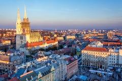 Mening van hoofdvierkant in Zagreb, Kroatië Royalty-vrije Stock Foto's