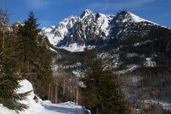 Mening van Hrebienok aan Lomnicky piek, Hoge Tatras stock fotografie