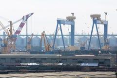Mening van industriële haven Royalty-vrije Stock Foto's
