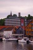 Mening van industrieel en historisch stadsdeel in Gothenburg Stock Fotografie