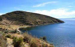 Mening van Isla del Sol op het Titicaca-meer, Bolivië Stock Fotografie