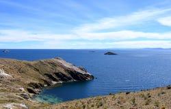Mening van Isla del Sol op het Titicaca-meer, Bolivië Royalty-vrije Stock Afbeelding