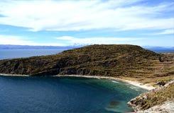 Mening van Isla del Sol op het Titicaca-meer, Bolivië Royalty-vrije Stock Foto's
