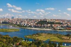 Mening van Istanboel en de Gouden Hoorn Royalty-vrije Stock Afbeeldingen