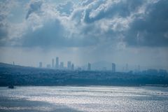 Mening van Istanboel van Galata-Toren royalty-vrije stock fotografie