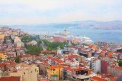 Mening van Istanboel van Galata-Toren Royalty-vrije Stock Foto's