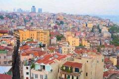 Mening van Istanboel van Galata-Toren Stock Afbeeldingen