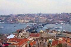 Mening van Istanboel van Galata-Toren Stock Foto