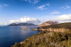Mening van Kaap Tourville Tasmanige Royalty-vrije Stock Foto
