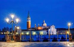 Mening van Kanaal Grande van Piazza San Marco 's nachts, Venetië stock foto's