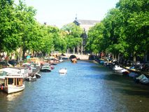 Mening van kanaal Prinsengracht in Amsterdam, Holland, Nederland royalty-vrije stock foto's
