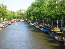 Mening van kanaal Prinsengracht in Amsterdam, Holland, Nederland royalty-vrije stock foto
