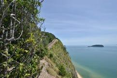 Mening van Keluang-Heuvels, Terengganu, Maleisië over Overzees het Zuid- van China stock foto