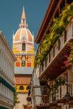 Mening van kerk, Cartagena Royalty-vrije Stock Foto