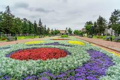 Mening van Kirov-Vierkant in Irkoetsk Rusland stock afbeelding