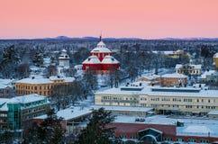Mening van kleine Zweedse stad Stock Foto