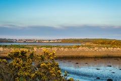 Mening van Knocknacarra die over Rusheen-baai van de weg aan S kijken Stock Fotografie