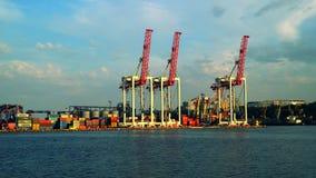 Mening van kranen bij de haven met het gedreven schip stock video