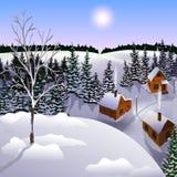 Mening van landschap van de winterstad van heuvel Royalty-vrije Stock Afbeeldingen