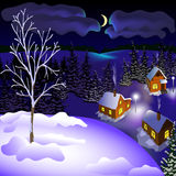 Mening van landschap van de winterstad bij de nacht van heuvel Stock Foto's