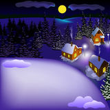 Mening van landschap van sneeuwstad bij de nacht van heuvel Royalty-vrije Stock Fotografie