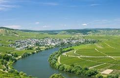 Mening van Leiwen, de Rivier van Moezel, de Vallei van Moezel, Duitsland Stock Foto