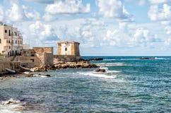 Mening van Ligny-Toren in Trapan, Sicilië Stock Foto