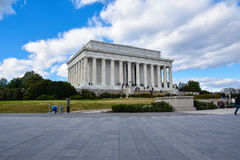 Mening van Lincoln Memorial met de namen van Amerikaanse Staten Washington DC, de V royalty-vrije stock afbeelding
