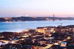 Mening van Lissabon bij zonsondergang Royalty-vrije Stock Foto's