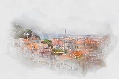 Mening van Lissabon, Portugal, waterverf Royalty-vrije Stock Afbeelding
